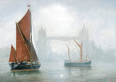 London Skyline Painting - Thames Barges In Morning Mist by Eric Bellis