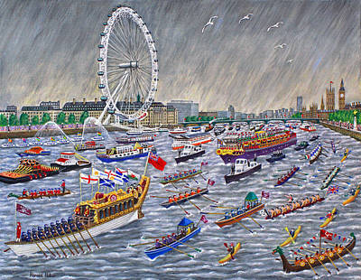 London Eye Painting - Thames Diamond Jubilee Pageant  by Ronald Haber