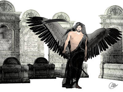 Modern Digital Art Drawing - Thanatos God Of Death by Quim Abella