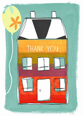 Doodle Painting - Thank You Card by Linda Woods