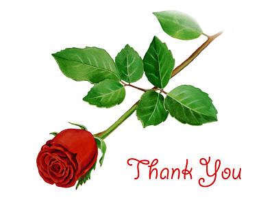 Thanking Painting - Thank You Card Red Rose by Irina Sztukowski