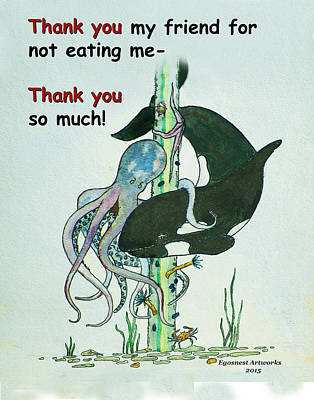 Funny Drawing - Thank You Whale For Not Eating Me by Michael Shone SR
