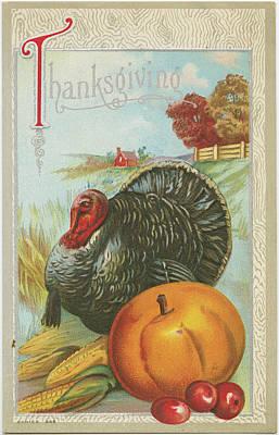 Turkey Painting - Thanksgiving Postcards I by Wild Apple Portfolio