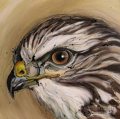 Buzzard Painting - That All-seeing Eye by Erlinde Ufkes Stephanus