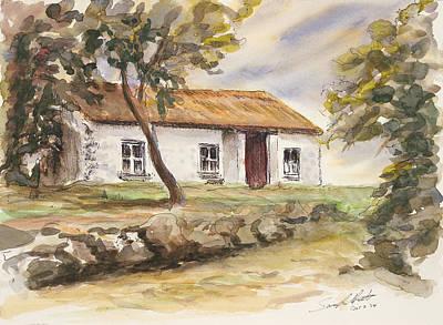 Thatched Irish Cottage Original by Sara Cuthbert