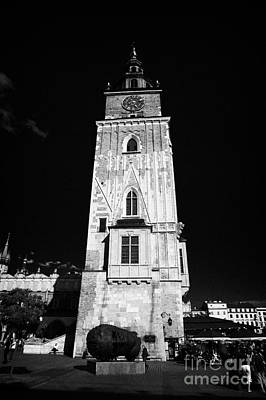 Polish City Photograph - The 13th Century  Gothic Town Hall Tower And Igor Miteraij Sculpture In Rynek Glowny Town Square Krakow by Joe Fox