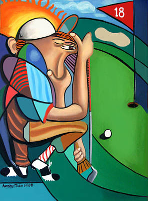 Cubist Digital Art - The 18th Hole by Anthony Falbo