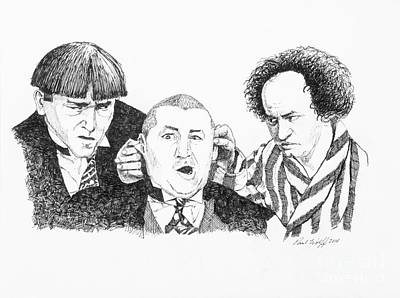Slapstick Drawing - The 3 Stooges by Paul Wolff