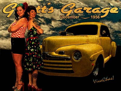 Pinup Photograph - The 46 Ford And The Betties by Chas Sinklier