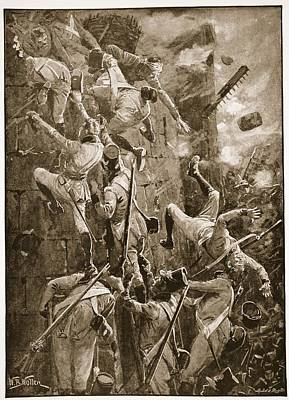 Falling Drawing - The 5th Division Storming By Escalade by William Barnes Wollen