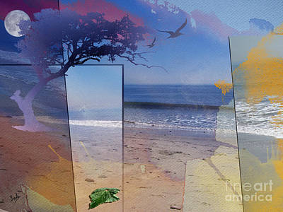 Seaside Mixed Media - The Abstract Beach by Bedros Awak
