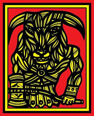 Minotaur Drawing - Wykes Minotaur Yellow Red Black by Eddie Alfaro