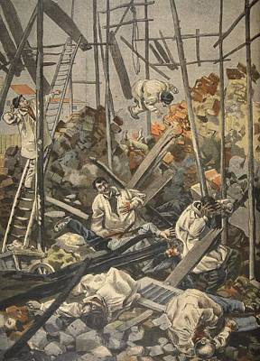 Falling Drawing - The Accident At Chesnay, Illustration by French School