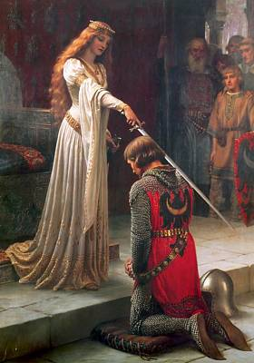 Medieval Painting - The Accolade by Edmund Leighton