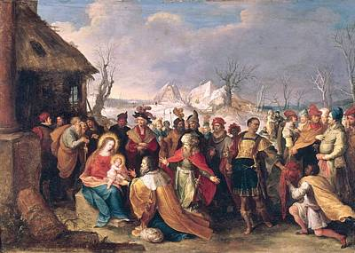 The Adoration Of The Magi Oil On Panel Print by Frans II the Younger Francken