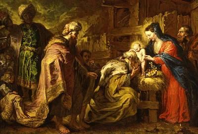 The Adoration Of The Magi Print by Orazio de Ferrari