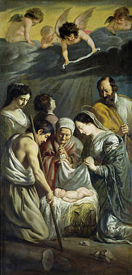 Adoration Of The Shepherds Shepherd Infant Jesus Christ Baby Child Joseph Painting - The Adoration Of The Shepherds by Antoine and Louis Le Nain