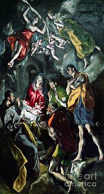 The Adoration Of The Shepherds From The Santo Domingo El Antiguo Altarpiece Print by El Greco Domenico Theotocopuli