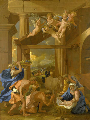 The Adoration Of The Shepherds Print by Nicolas Poussin