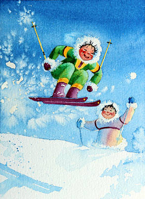 Kids Sports Art Painting - The Aerial Skier - 10 by Hanne Lore Koehler