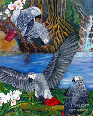 Tolan Painting - The African Grey Parrots by To-Tam Gerwe