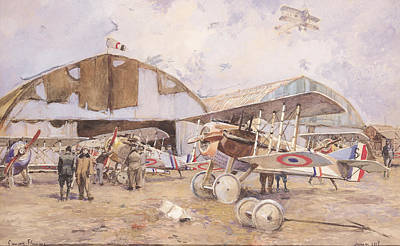 1st Photograph - The Airfield, 1918 Wc On Paper by Francois Flameng