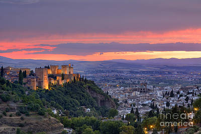 The Alhambra And Granada City At Sunset Print by Guido Montanes Castillo