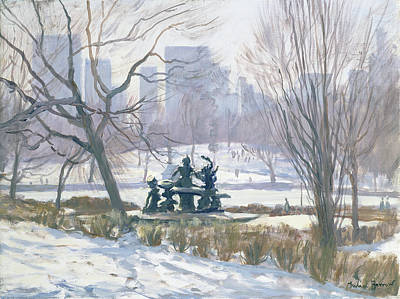 Snowy Trees Painting - The Alice In Wonderland Statue, Central Park, New York by Julian Barrow