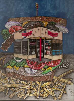 Lettuce Drawing - The All Star Sandwich Bar by Richie Montgomery