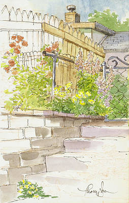 Garden Mixed Media - The Alley Stairway by Tracie Thompson