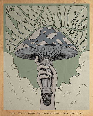Statue Of Liberty Drawing - The Allman Brothers Band - Fillmore East by Geraldinez