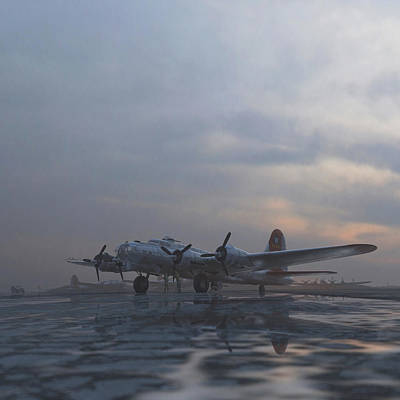 Airfield Painting - The Aluminum Overcast by Hangar B Productions