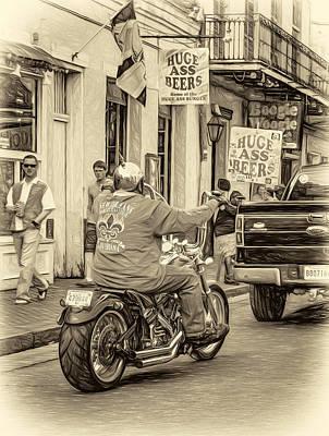The American Way - Harleys Pickups And Huge Ass Beers - Sepia Print by Steve Harrington