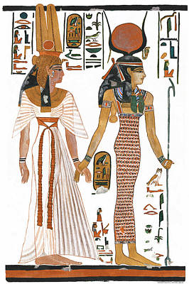 The Ancient Egyptian Goddess Isis Leading Queen Nefertari Print by Ben  Morales-Correa