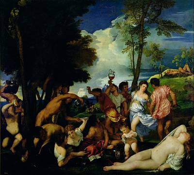 The Andrians, C.1523-4 Oil On Canvas Print by Titian