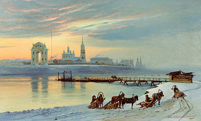 The Angara Embankment In Irkutsk Print by Nikolai Florianovich Dobrovolsky