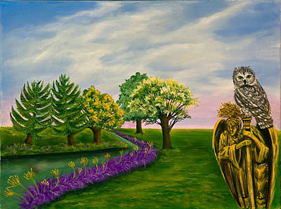 The Angel And The Owl Print by Susan Culver
