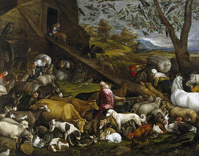 The Animals Entering Noah's Ark Print by Jacopo Bassano