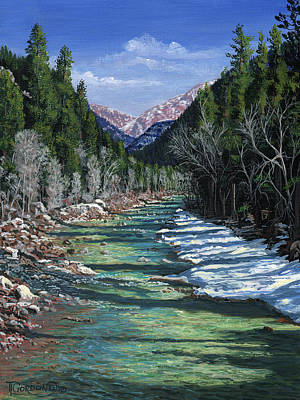Glade Creek Painting - The Animas At Cascade by Timithy L Gordon