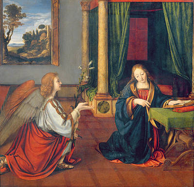 The Annunciation, 1506 Oil On Panel Print by Andrea Solario