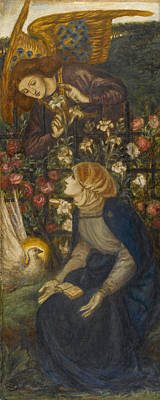 Lilies Drawing - The Annunciation, 1861 by Dante Gabriel Charles Rossetti