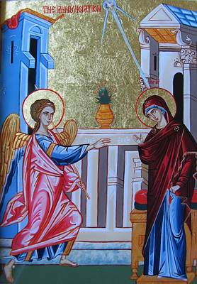 Byzantine Icon Painting - The Annunciation by Andreea Bagiu