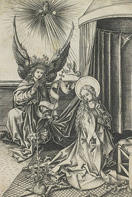 Dove Drawing - The Annunciation by Martin Schongauer