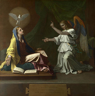 Nicolas Poussin Painting - The Annunciation by Nicolas Poussin