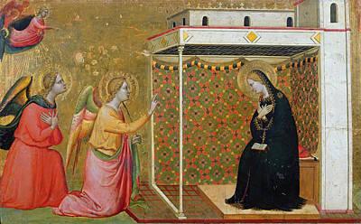 The Annunciation Oil On Panel Print by Bernardo Daddi