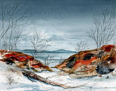 Snowscape Painting - The Approaching Evening by Brenda Owen