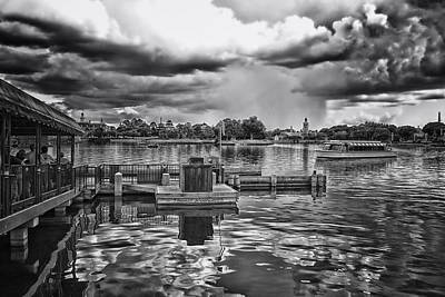 The Approaching Storm Walt Disney World Bw Print by Thomas Woolworth