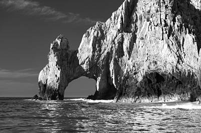 Scenic Photograph - The Arch Cabo San Lucas In Black And White by Sebastian Musial