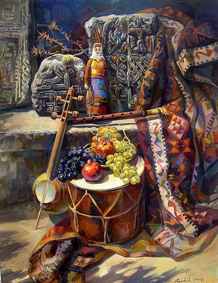 Doll Painting - The Armenian Still-life With A Armenian Doll by Meruzhan Khachatryan