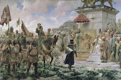 Bull Riders Photograph - The Arrival Of Roger De Flor 1280-1307 In Constantinople In 1303 With 8000 Almogavares Serving by Jose Moreno Carbonero